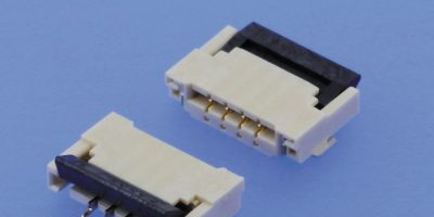 SMT ZIF connector has a folding lock to keep a low profile