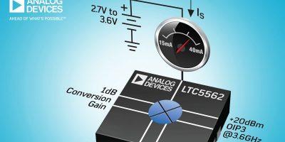 Double balanced mixer runs on single 3.3V supply rail