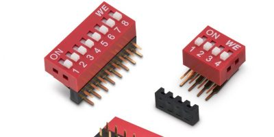 Robust DIP switch has gold contacts