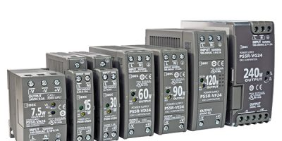 Space-saving DIN-rail power supplies carry a five-year warranty