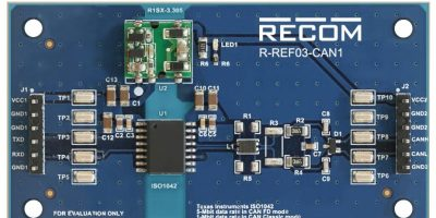 Reference board demonstrates isolated ISO1042 CAN transceiver