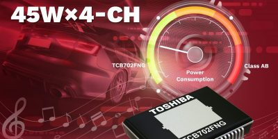 Four-channel linear power amplifier boosts car audio output to 45W