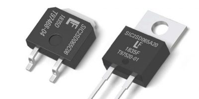 SiC Schottky diodes operate at high temperatures for smaller heatsinks