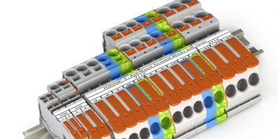 Rail-mount terminal blocks have tool-free wiring