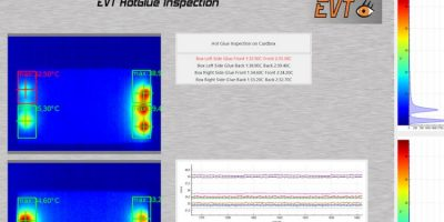 Thermal imaging inspection monitors adhesive points