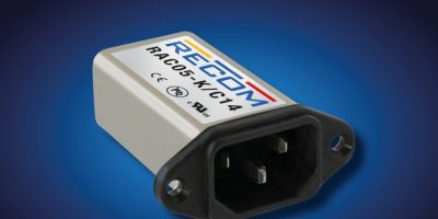 Recom combines AC/DC supply and IEC mains filter