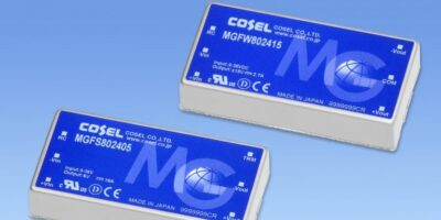 80W DC/DC converter from Cosel has 10-year warranty