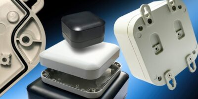 Wall-mount/desktop plastic enclosure is sealed to IP68