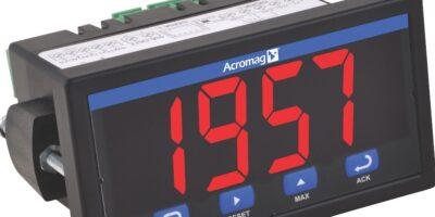 Panel meter's universal input display has transmitter and alarm