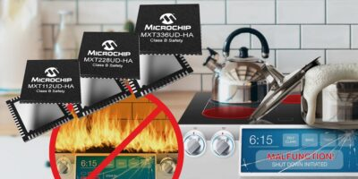 Capacitive touchscreen controller is safety-certified for home appliances