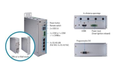 DIN rail, fanless in-vehicle PC protects vehicle battery