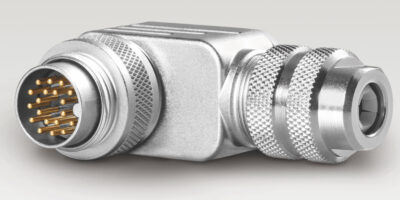 binder saves space with right-angled housing for M12 and M16 connectors