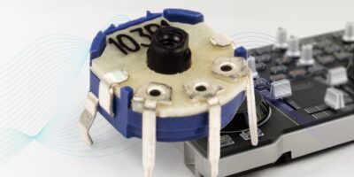 Micro rotary potentiometer has low profile for audio and lab equipment