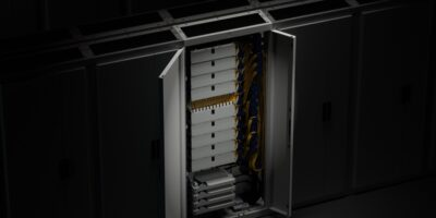 Front access fibre management system saves space in data centres