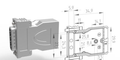 Metal D-Sub hood connector offers flexible cabling options