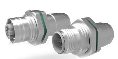 M12-Mini bulkhead cable connectors have cable gland