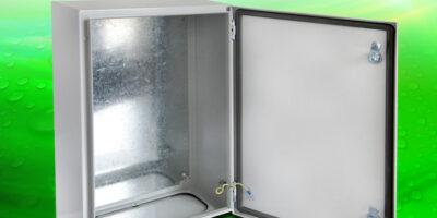 Solid door steel enclosures guard against water and dust
