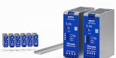 Three-phase input DIN rail power supplied feature +20% peak power capability and low energy inrush current